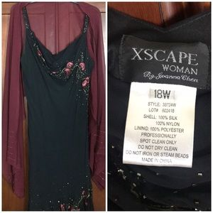 Xscape Black Sequin Embroidered Evening Dress 18W